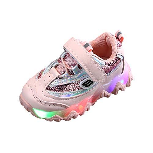 Kinderschuhe Jungen Mädchen Gestreifte Bling Flat Kinder Schuhe mit Licht Led Leuchtende Blinkende Sportschuhe Turnschuhe Klettverschluss Sport Sneaker, EU22.5-EU29 (Pink, 22)