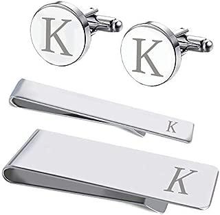 4PC Cufflinks Tie Bar Money Clip Button Shirt Personalized Initials Alphabet A-Z Gift Set
