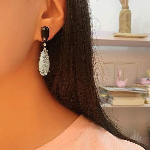 BAJIE Earring Fashion Luxury Black Delicate Broken Blue Zircon Drop Earrings