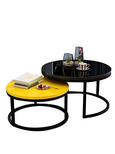 Gehumaniseerd ontwerp Ronde glazen salontafel, een set van twee Iron Art Coffee Table Hotel Meeting Table Small Apartment Living Room Single-layer Table Glad aanrecht (Color : A1)