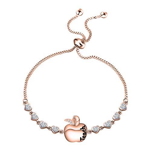 TGBJE Teacher Gift Teach Love Inspire Bracelet Apple Bracelet Teacher Appreciation Gift Jewelry End of School Year Gift.