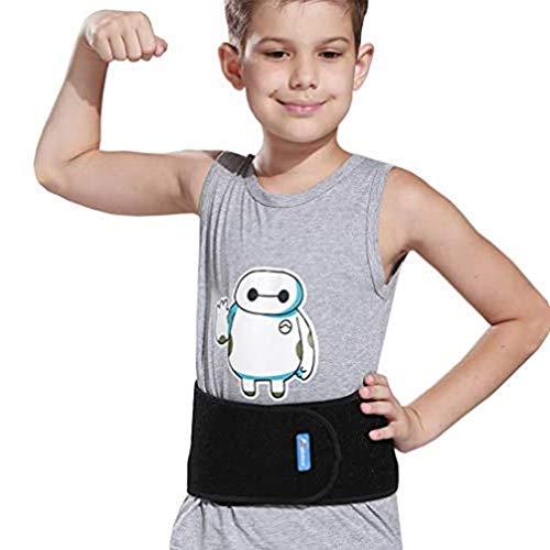 Luwint Kids Waist Belt Brace Support - Abdominal Binder Hernia Band for Waist Back Pain Relief Dance Yoga Volleyball Basketball (Black)