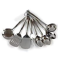 Home Point - Set di utensili da cucina in acciaio INOX, 9 pezzi, con spatola, forchettone da carne, mestolo, cucchiaio da servizio, paletta da forno, cucchiaio con fessura Set da 8 pezzi.