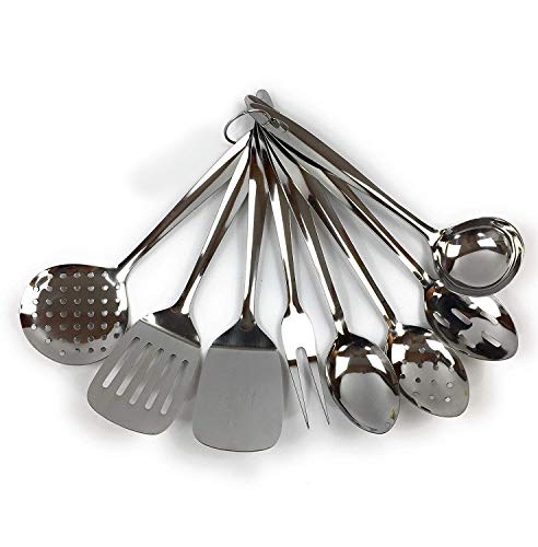 Home Point Küchenhelfer Set aus Edelstahl 8-teilig - Küchenutensilien Set - Pfannenwender Fleischgabel Schöpflöffel Servierlöffel Backschaufel Löffel mit Schlitz