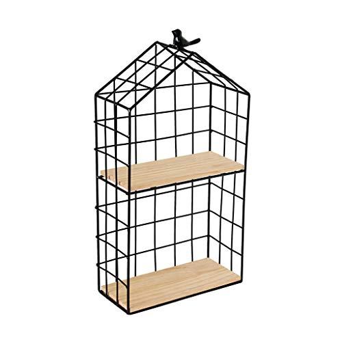 Kitchen furniture - Support de suspension mural nordique en fer forgé à double cadre décoratif, étagère de rangement pour produits cosmétiques WXP (taille : 48 * 25 * 11.5cm)