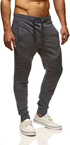 Leif Nelson Gym Herren Freizeithose Jogginghose Moderne Männer Lange Trainingshose Herren Schwarze Sporthose für Fitness Training Freizeit Bodybuilding Cargohose LN9017 Anthrazit Medium
