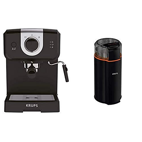 KRUPS XP3208 15-BAR Pump Espresso and Cappuccino Coffee Maker, 1.5-Liter, Black AND GX332850 Silent Vortex Electric Grinder for Spice,Dry Herbs and Coffee, 12-Cups, Black