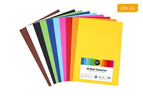 perfect ideaz papel de construcción A3 de colores, 50 hojas, en 10 colores diferentes, grosor de 210g/m², hojas de la máxima calidad