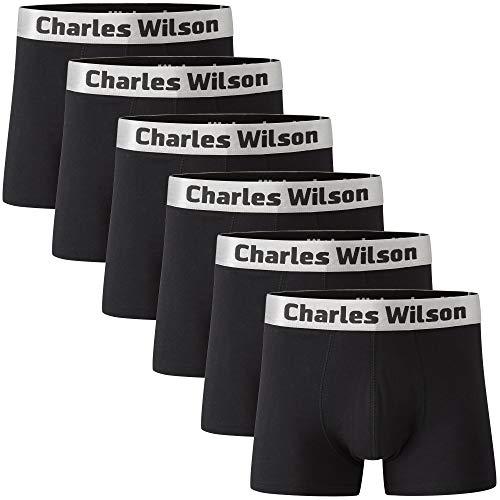 Charles Wilson 6er Packung Herren Boxershorts mit Beinansatz (X-Large, Black (1019))