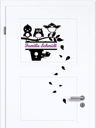 NEU Aufkleber/Sticker für Flur,Wohnzimmer,Briefkasten - Wände,Türen,uvm ***Vögel auf Ast Schild mit ihrem WUNSCHTEXT + Blätterset***(Größen.- und Farbauswahl)