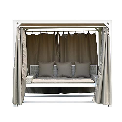 Gazebo dondolo con struttura in acciaio e tende Bianco e tortora