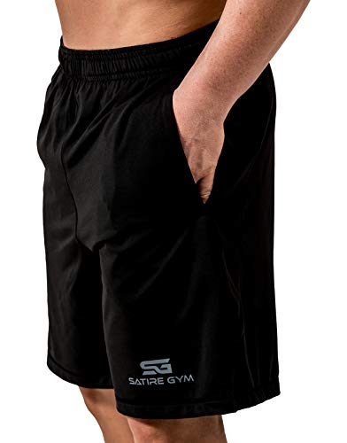 Satire Gym Loose Fit Shorts Herren - Kurze Sport Hose - Bekleidung geeignet für Fitness, Workout & Training, schwarz, M