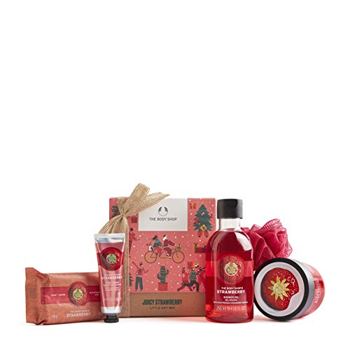 The Body Shop Strawberry-5pc Small Gift Set with juice body care treats made with strawberry seed oil from jam making