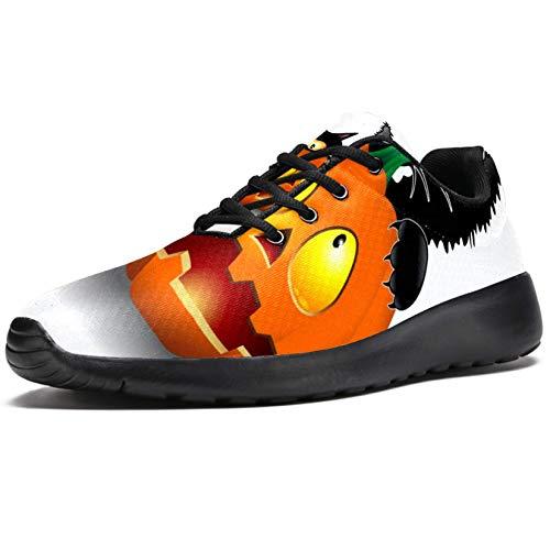 Bennigiry Calabaza Mordiendo Gato de Halloween Athletic Trainers Zapatillas Ligeras Calzado Deportivo para Mujer