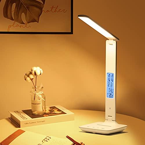 Dumcuw LED-Schreibtischlampe mit kabellosem Ladegerät, USB-Ladeanschluss, Faltbare Schreibtischlampe mit Uhr, Alarm, Datum, Temperatur, Bürotischlampe mit Adapter (Weiß)