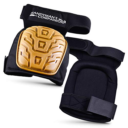 Handymans Companion Heavy Duty Knee Pads for Work-Ultimate Comfort With Gel Pad Plus EVA Foam Cushion- Adjustable Non-Slip Velcro Straps - Great For Construction, Home Improvement, Gardening