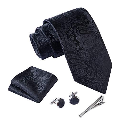 Massi Morino ® Herren Krawatte Set mit umfangreicher Geschenkbox schwarz schwarze paisley paisleymuster schwarzekrawatte paisleykrawatte black Trauer Beerdigung trauerkleidung paisleymotiv