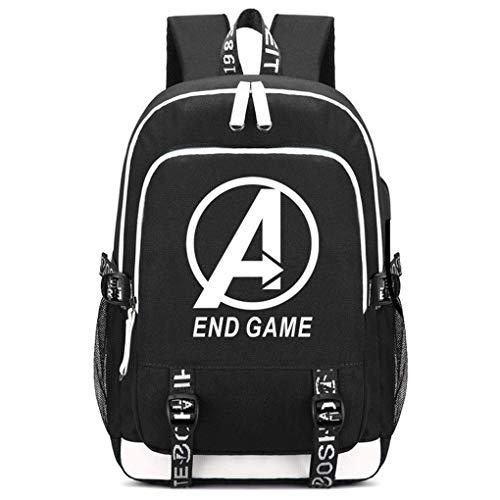 Memoryee Unisex Schulrucksack Geheimnisvoll Avengers Gedruckt Rucksack Laptop-Rucksack Multifunktionaler Daypack mit USB-Ladeanschluss Headset-Anschluss und 2 Linien Schwarz3