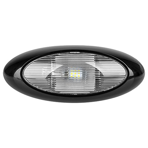 Lumitronics RV 13' LED Oval Scare/Porch Light with Clear Lens (Black)