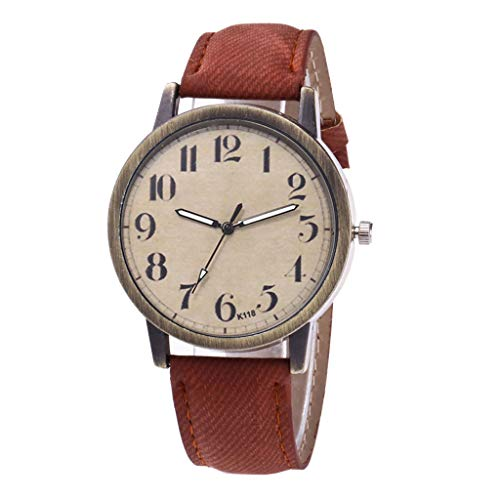 Uhren Damen Quarzuhr,Luotuo Mode Frauen Armbanduhr Sportuhr Retro Ø40mm Ultradünn Zifferblatt und Leinwand Uhrenarmbänder Geschäft Freizeit Watch