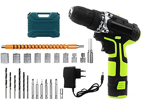 Kit de destornillador de taladro inalámbrico de 12 V, destornillador eléctrico con accesorios de 24 piezas, baterías de iones de litio de 1500 mAh