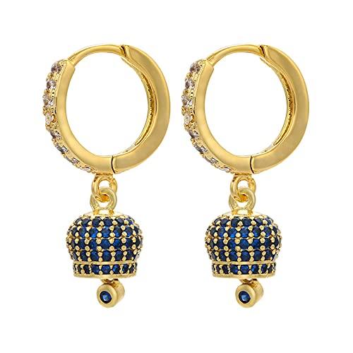 Pendientes de aro pequeños para mujer Pendientes de gota creativos de cristal Pendientes de campana oscilante de moda joyería 2.8 CM