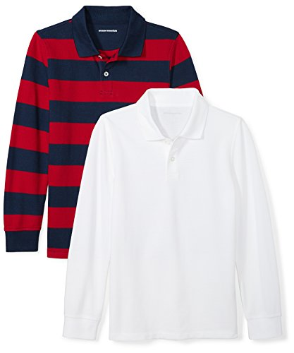 Red and White Striped Long Sleeve Polo Shirt