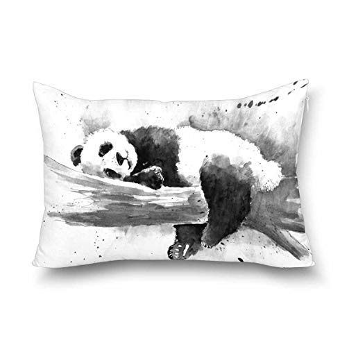 INTERESTPRINT Watercolor Black and White Panda Cute Animal Decor Pillow Cover Case Queen Size 20x30 Inch, Decorative Rectangle Zippered Pillowcase Protector