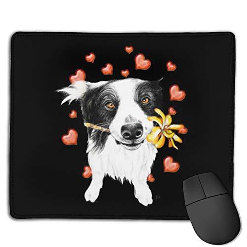 Jujupasg-Mauspad, Rutschfestes, Wasserdichtes Mousepad Auf Gummibasis Für Laptops -Süße Collie Herzen