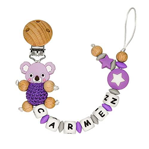 RUBY - Chupetero Personalizado Para Bebe Cadena Chupete con Nombre Bola Silicona Antibacteriana con Pinza de Madera, Chupetero de Koala de Crochet (Morado)