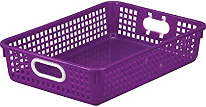 """Really Good Stuff Plastic Desktop Paper Storage Baskets for Classroom or Home Use – 14""""x10"""" Plastic Mesh Baskets Keep Papers Crease-Free and Secure – Purple Basket with White Handles (1 Basket)"""