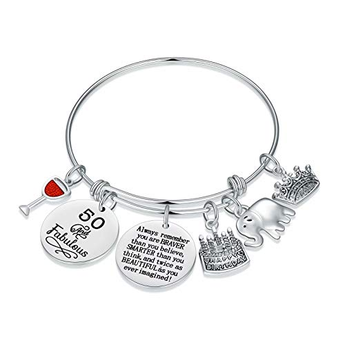 M MOOHAM 50th Birthday Gifts for Women Bracelet, Happy 50 Birthday Gifts Ideas Turning 50 Year Old Womens Fifty Bday Gifts 50th Birthday Bracelet Funny for Women Best Woman Female Sister Mom