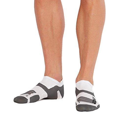 2XU Unisex's Vectr Ultralight Cushion No Show Socks, White/Grey, X-Large
