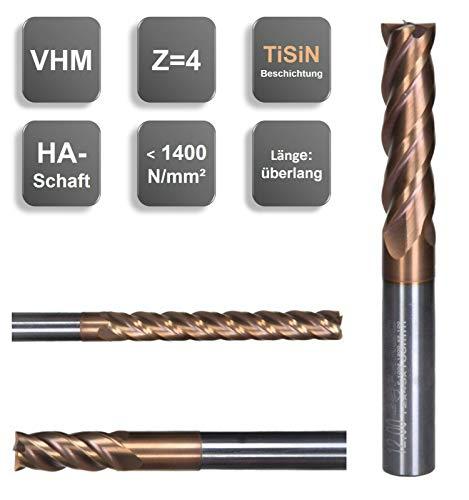 VHM Schaftfräser, überlang, Z=4, TiSiN, NEU, 3/4/ 5/6/ 8/10/ 12 mm, extralang, Größe: 6,00x40x75 mm - d2=6 mm