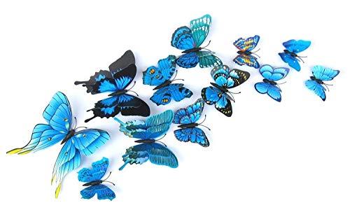 12pcs / Set Capa Doble Multicolor 3D de la Mariposa Etiqueta de la Pared del imán Partido de Las Mariposas de PVC habitación de los niños Nevera decoración de Color 10 (Color : 01)
