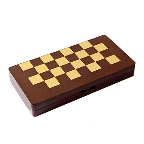 QIFFIY Juego de tablero de ajedrez de madera portátil plegable juegos de ajedrez juguete ajedrez ajedrez juego de mesa juguetes regalo juego de ajedrez (tamaño de King 10,5 cm)