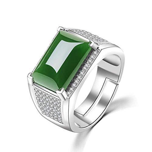 JY Anillos de jade de los anillos de jade de los hombres de plata 925 y estaño Anillos de jade naturales masculino