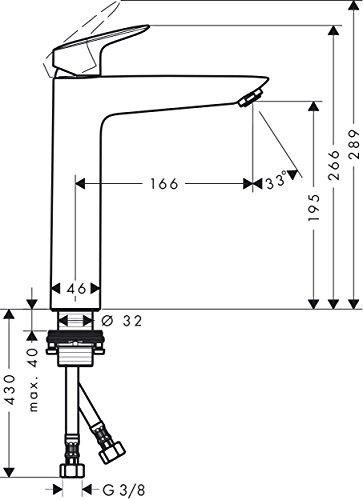 Hansgrohe – Waschtisch-Einhebelarmatur, ohne Ablaufgarnitur, Chrom, Serie Logis 190 - 6