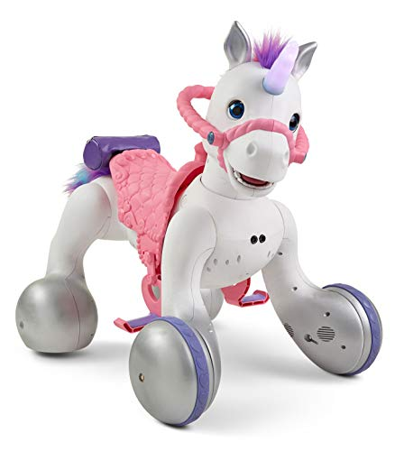 Kid Trax Toddler/Kids Rideamal Unicorn 12 Volt Ride On Toy, Max Rider Weight of 70lbs, Interactive, Responds with Movement, Lights, and Sound, Accessories Included