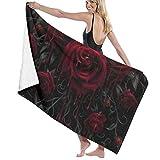Toallas de baño góticas con diseño de calavera de sangre de rosa de secado rápido suave para la playa, toalla de ducha de...