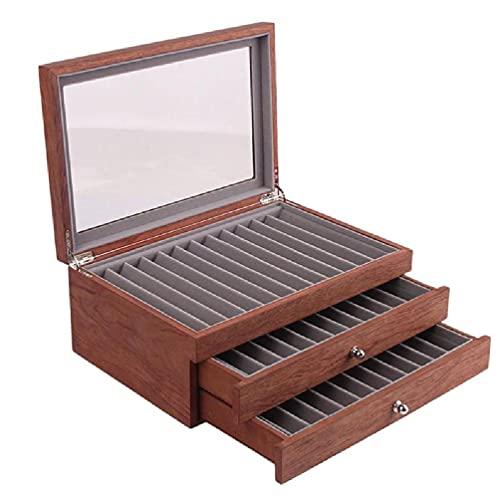 SHINAN Exquisita caja de almacenamiento con tapa de cristal con 34 ranuras para bolígrafos, estuche de exhibición de la colección de la pluma de la nuez para la tienda de la pluma de madera