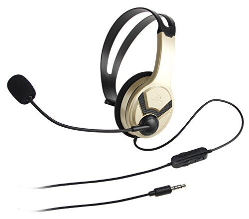 Amazon Basics Gaming Chat Headset for PlayStation 4 with Microphone - 4 Foot Cable, Gold