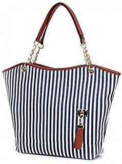 Women Lady Shopping Handbag Navy Blue Stripes Tassel Shoulder Canvas Tote Bag
