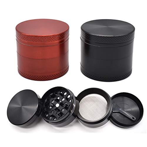 Liwein Grinder Especias, Molinillo de Hierbas Aleación de Zinc Tabaco Hierbas Grinder Metálico Pequeño con Rascador Polen(Negro Rojo)