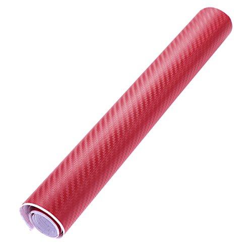WINOMO 3D Carbon Fiber Vinyl Folie Roll Wrap Aufkleber Blatt 30x127cm (rot)