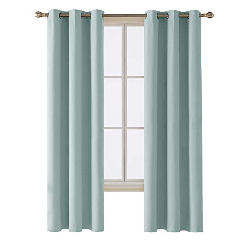 Deconovo Grommet Blackout Curtains Room Darkening Thermal Insulated Blackout Curtain for Infant Room Sky Blue 42x84-Inch 1 Panel