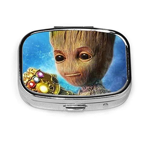 Groot Avenger - Pastillero cuadrado, para llevar alrededor, gestionar pastillas, soporte portátil con 2 compartimentos