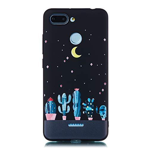 Artfeel Noir Souple Silicone Coque pour Xiaomi Redmi 6,Ciel étoilé Étui avec Mignonne Cactus Motif,Ultra Mince Flexible TPU Pare-Chocs Anti-Rayures Arrière Housse