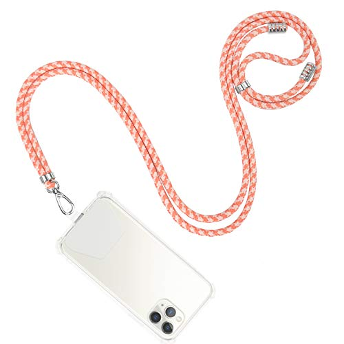 takyu Phone Lanyard, Universal Cell Phone Lanyard with Adjustable Nylon Neck strap, Phone Tether Safety Strap Compatible with Most Smartphones with Full Coverage Case (Black) (DPink)