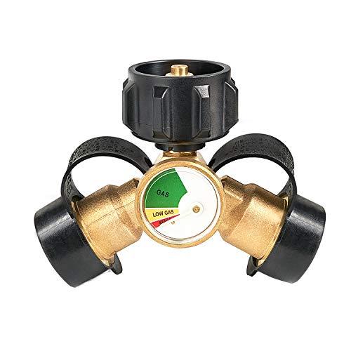 GASPRO Propane Y Splitter Tee Adapter with Gauge Leak...